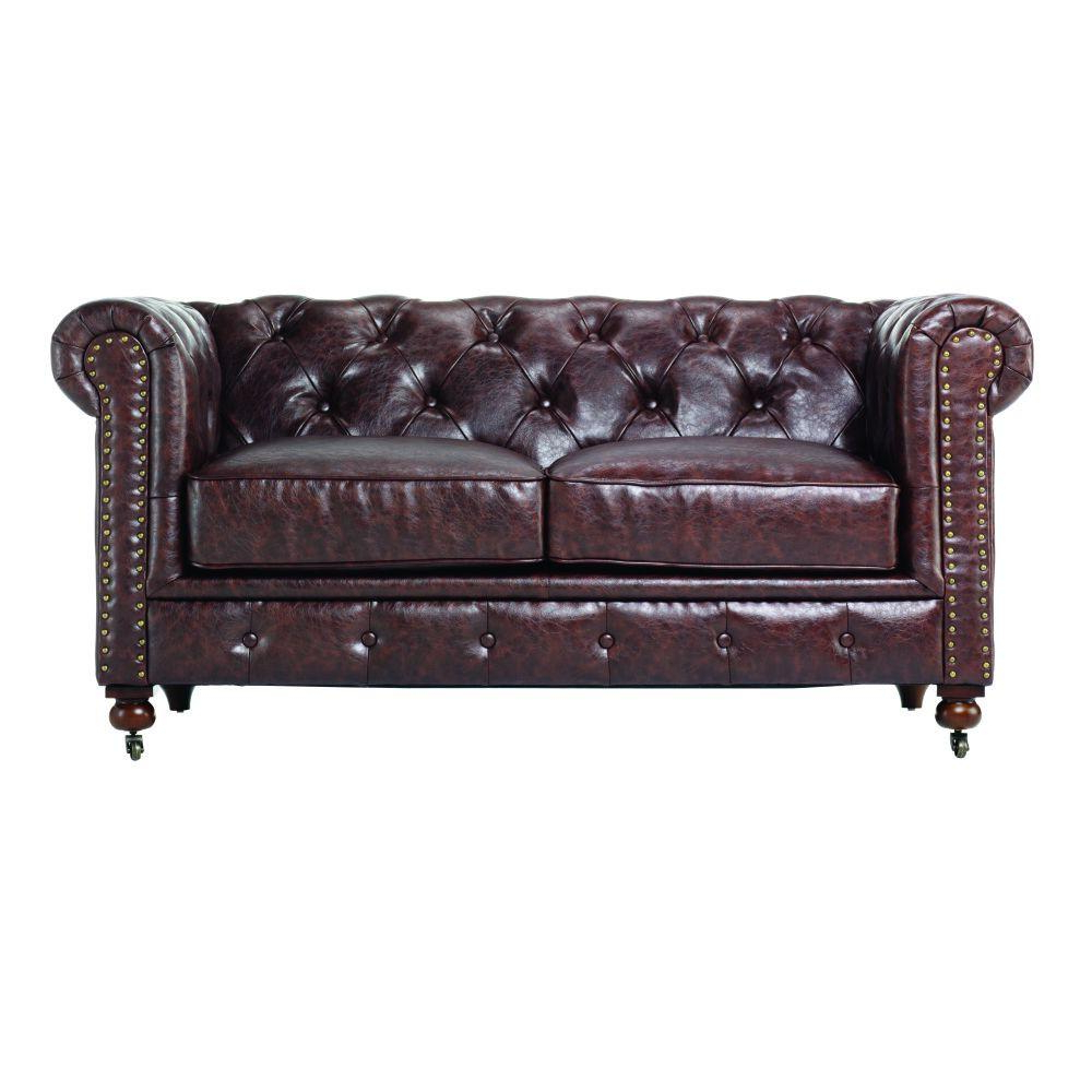 Home Decorators Collection Gordon Brown Leather Loveseat 0849500760 Throughout Most Recent Gordon Arm Sofa Chairs (View 9 of 20)