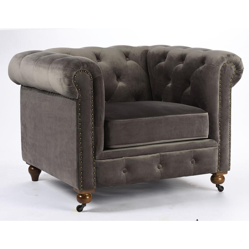 Home Decorators Collection Gordon Grey Velvet Arm Chair 0849600120 Throughout 2018 Gordon Arm Sofa Chairs (View 10 of 20)