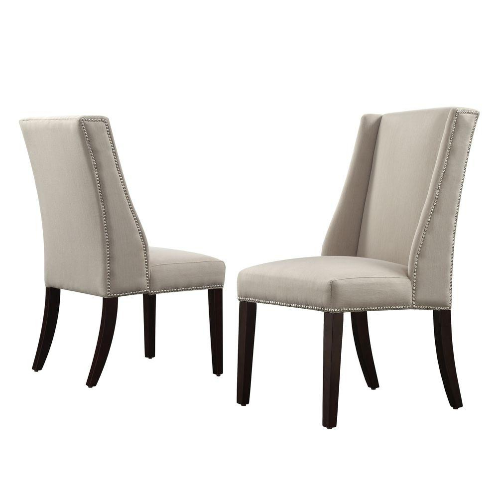 Homesullivan Mansfield Ash Fabric Wing Back Dining Chair (Set Of 2 Pertaining To Most Recently Released Mansfield Beige Linen Sofa Chairs (View 6 of 20)