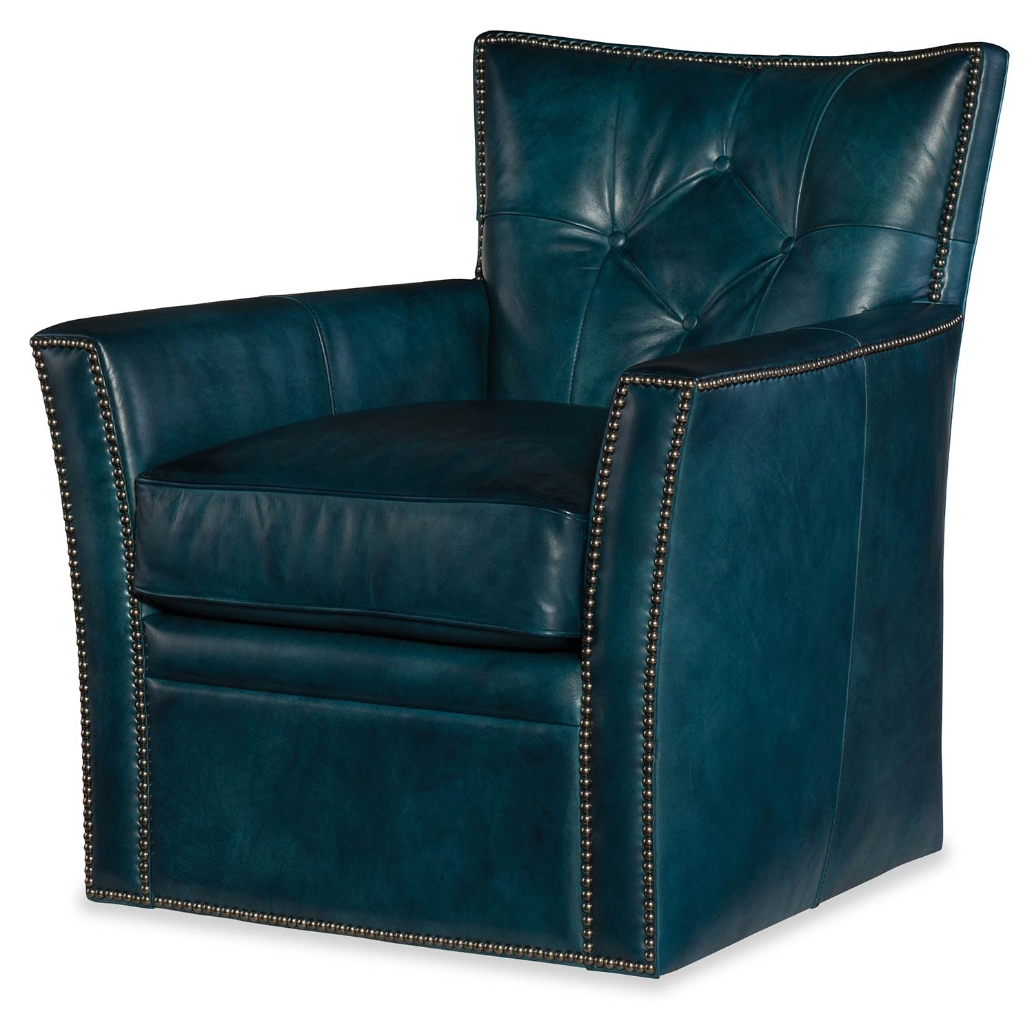 Hooker Furniture Conner Blue Leather Swivel Club Chair Cc503 Sw 039 Throughout 2019 Swivel Tobacco Leather Chairs (View 6 of 20)