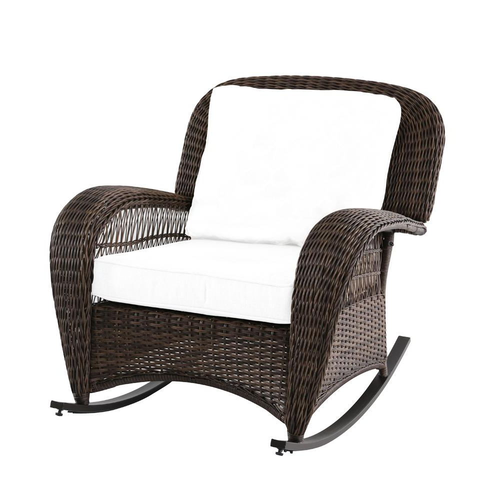 Katrina Blue Swivel Glider Chairs In Famous Hampton Bay Beacon Park Wicker Outdoor Rocking Chair With Toffee (View 11 of 20)