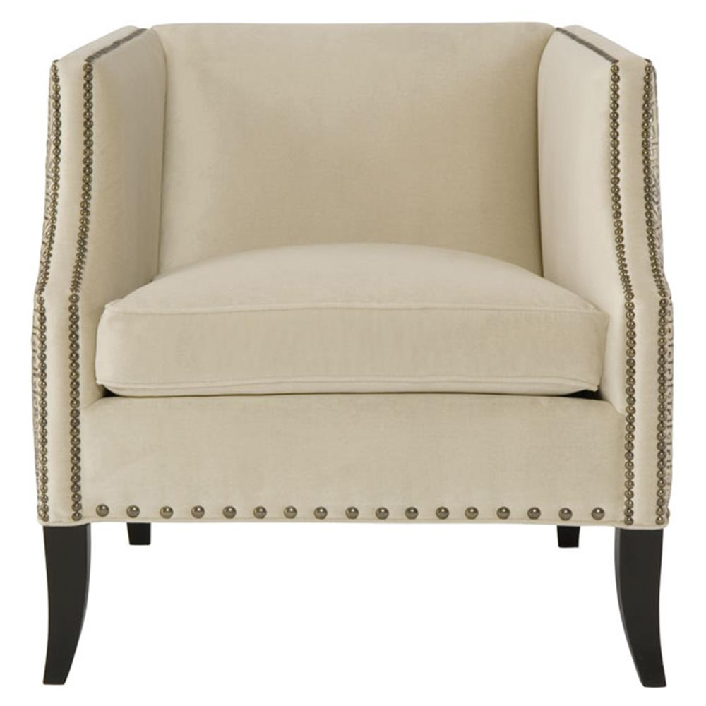 Kiara Hollywood Regency Mocha Wood Antique Nickel Beige Armchair Within Most Recent Kiara Sofa Chairs (Gallery 16 of 20)