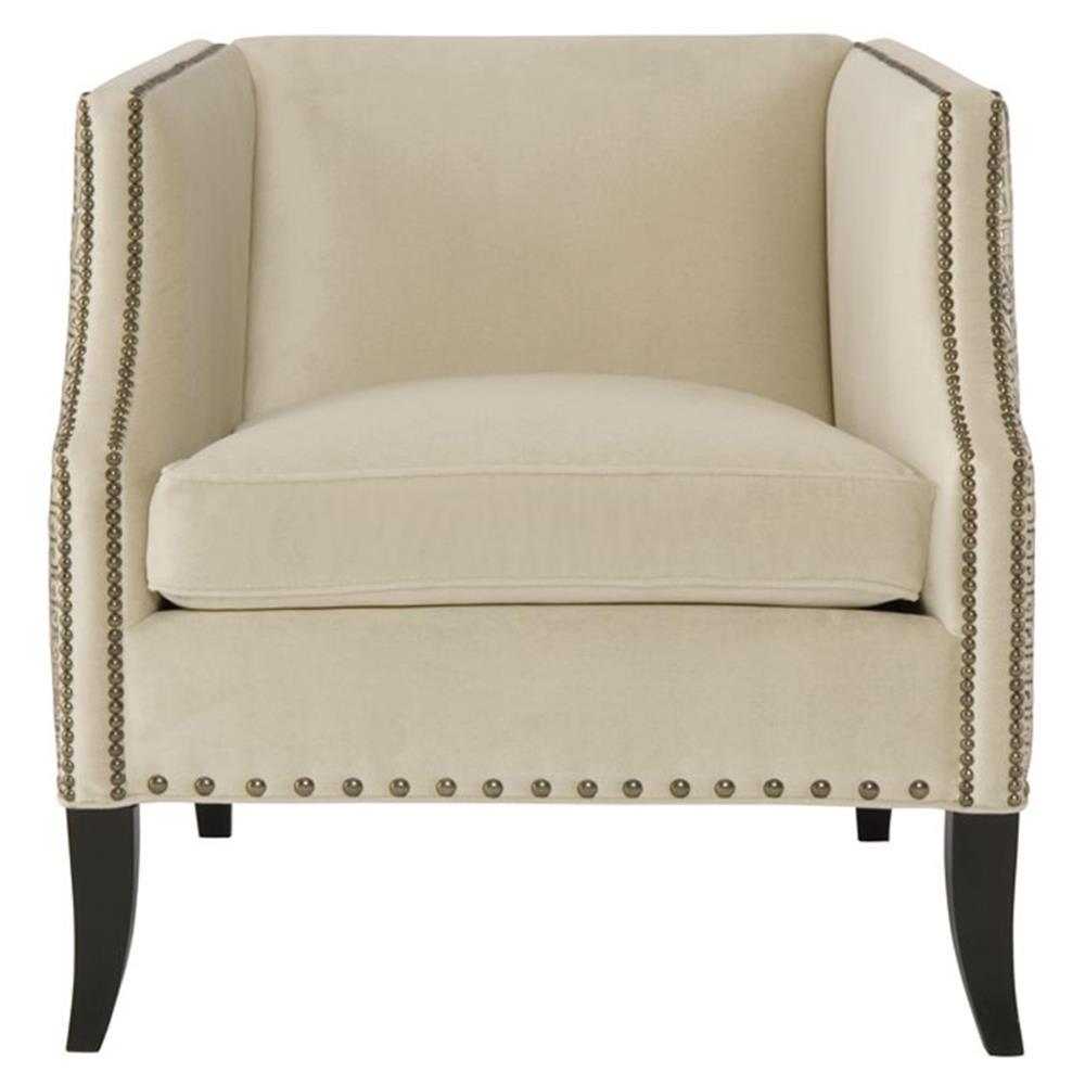 Kiara Hollywood Regency Mocha Wood Antique Nickel Beige Armchair Within Most Recent Kiara Sofa Chairs (View 16 of 20)
