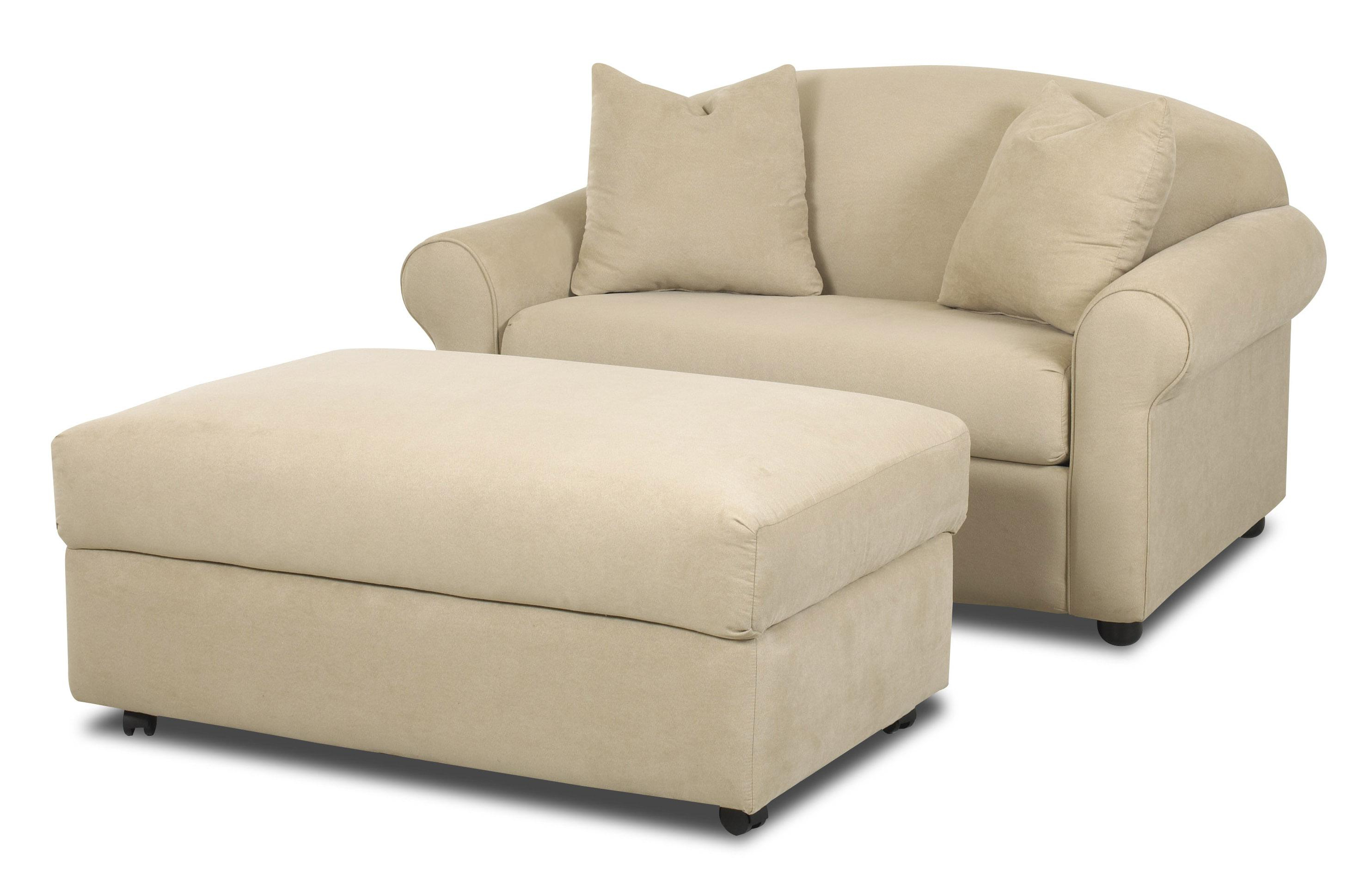 Klaussner Possibilities Chair Sleeper And Storage Ottoman Set Throughout Popular Sofa Chair With Ottoman (View 2 of 20)
