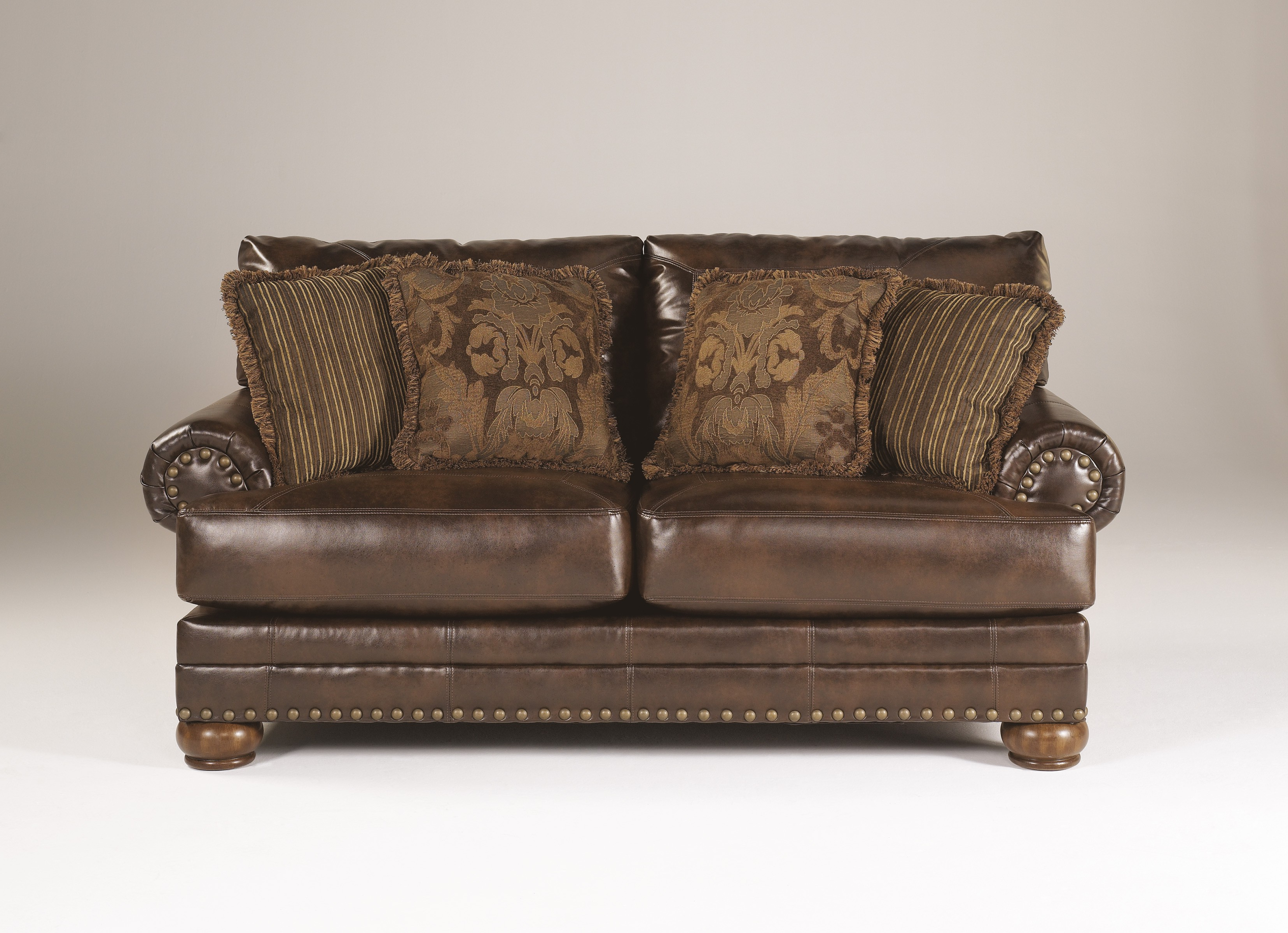 Latest Antique Sofa Chairs Within Ashley Brown Leather Durablend Antique 2pc Sofa Packageashley (View 4 of 20)