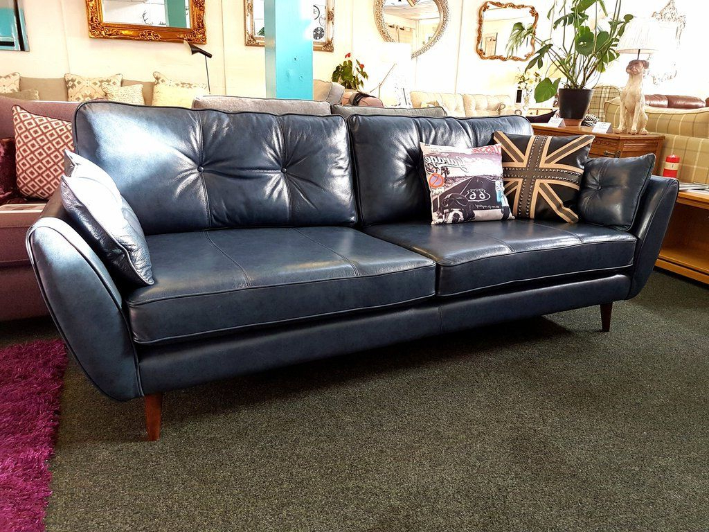 Latest Caressa Leather Dove Grey Sofa Chairs Within Ex Display French Connection Zinc Blue Leather 4 Seater Sofa £959 (Gallery 19 of 20)