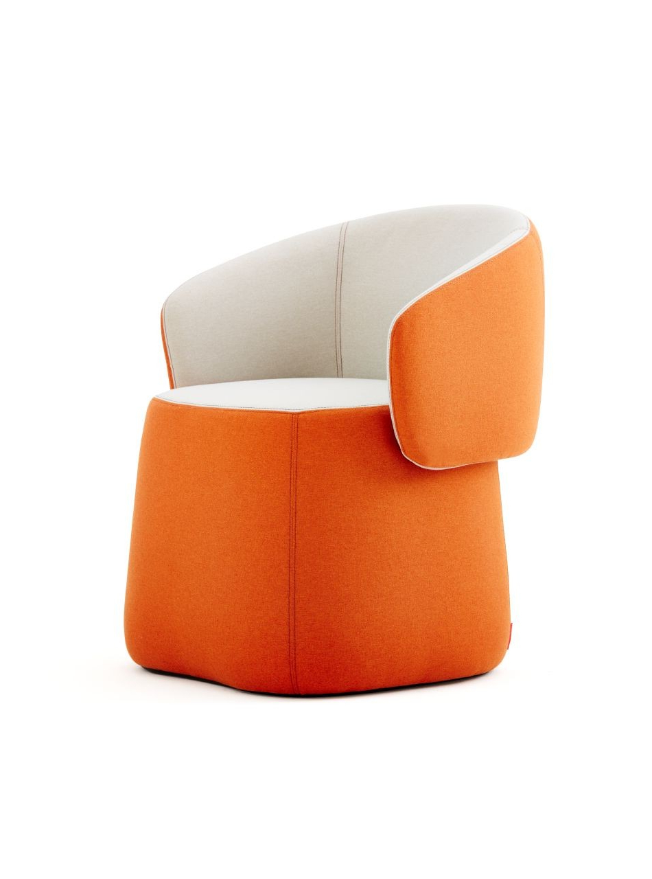 Latest Chadwick Tomato Swivel Accent Chairs Regarding Haworth Openest Collection Chick Pouf With Back – Modern Planet (View 7 of 20)