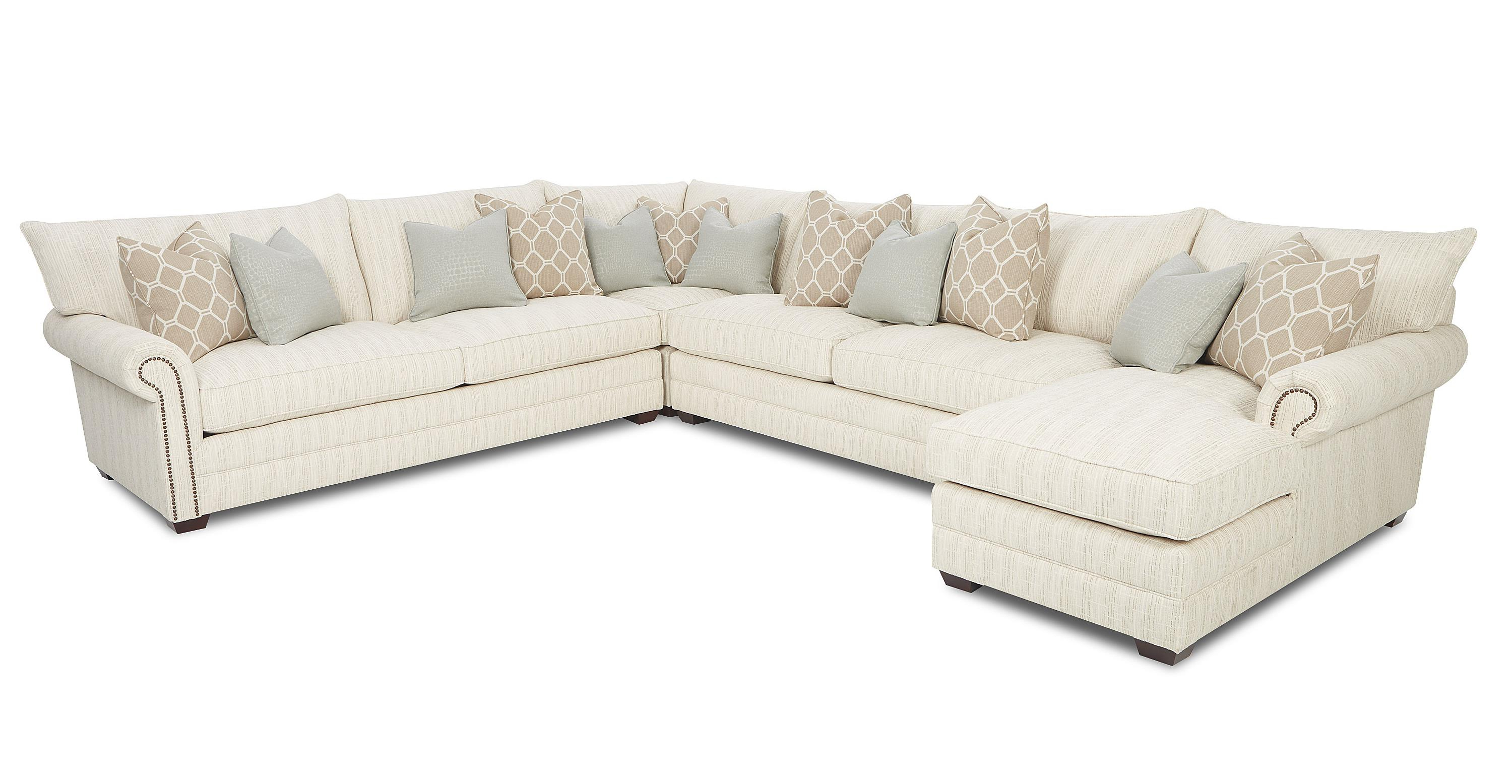 Latest Chaise Sofa Chairs Within Klaussner Huntley Traditional Sectional Sofa With Nailhead Trim And (View 12 of 20)