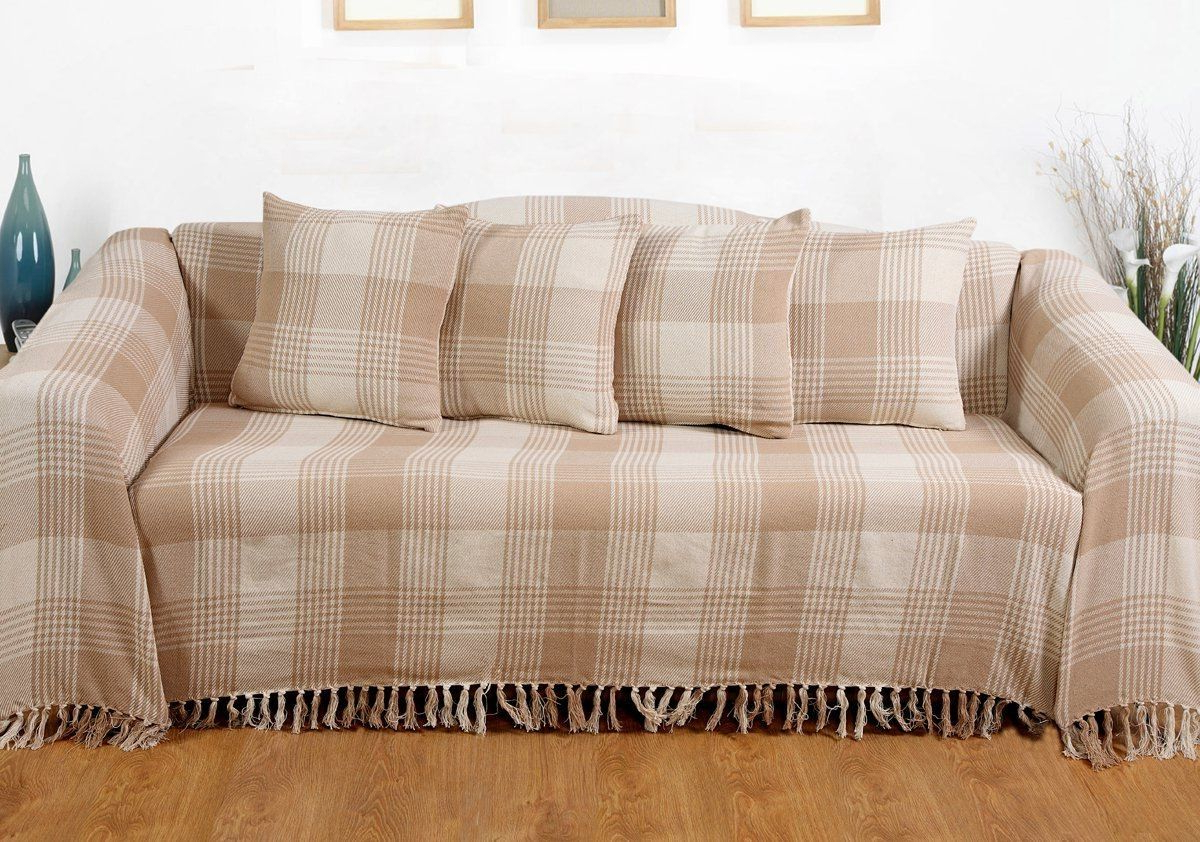 Latest Cotton Throws For Sofas And Chairs For Large Sofa Cover 150x200cm Beige Cotton Bed Chair Bedspread Settee (View 18 of 20)