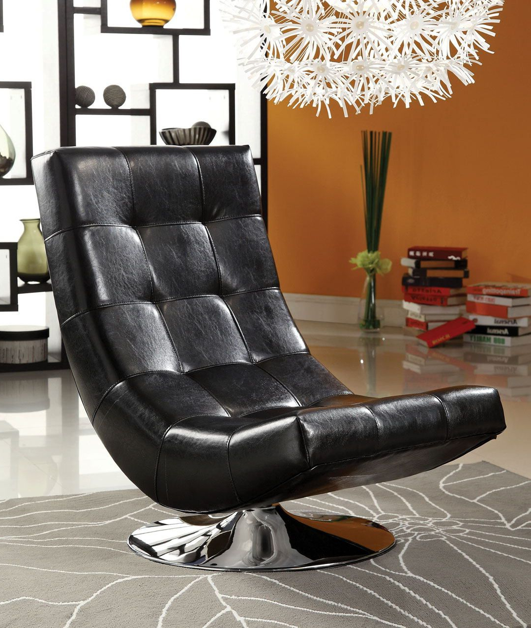 Latest Loft Black Swivel Accent Chairs Inside Cm Ac6912Bk Trinidad Black Leather Like Vinyl Hammock Style Tufted (View 12 of 20)