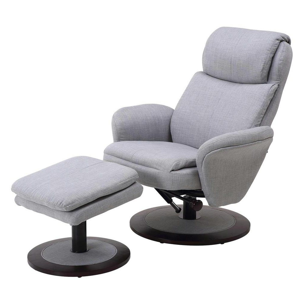 Latest Mac Motion Comfort Chair Light Grey Fabric Swivel Recliner With With Grey Swivel Chairs (Gallery 19 of 20)