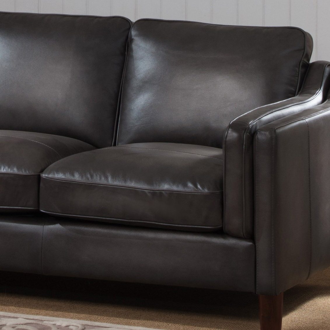 Latest Shop Ames Premium Hand Rubbed Grey Top Grain Leather Sofa And Regarding Ames Arm Sofa Chairs (Gallery 4 of 20)