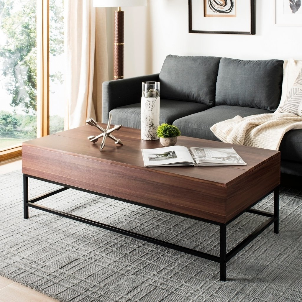 Latest Shop Safavieh Gina Dark Oak/ Black Lift Top Coffee Table – Free With Gina Blue Leather Sofa Chairs (View 17 of 20)