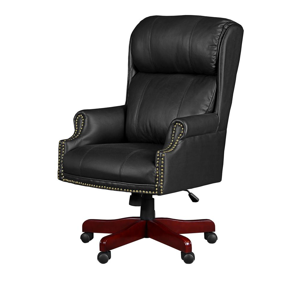 Leather Black Swivel Chairs Intended For Recent Regency Barrington Black Swivel Chair 9099lbk – The Home Depot (View 7 of 20)