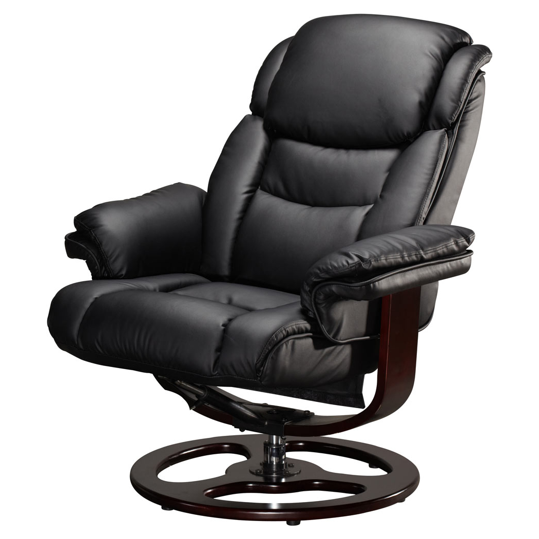 Leather Black Swivel Chairs With Regard To Best And Newest Vienna Real Leather Black Swivel Recliner Chair W Foot Black Spindle (View 9 of 20)