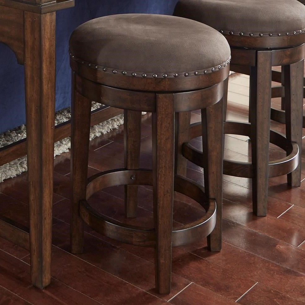 Liberty Furniture Aspen Skies Swivel Barstool With Upholstered Seat For Most Recent Aspen Swivel Chairs (Gallery 19 of 20)