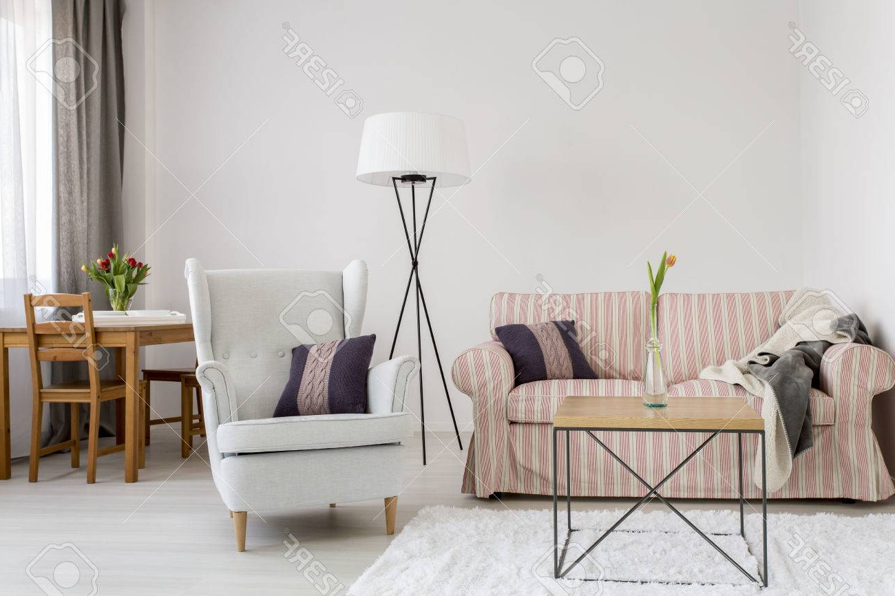Light Interior With Upholstered Pattern Sofa, Comfortable Armchair Within Widely Used Dining Table With Sofa Chairs (View 13 of 20)