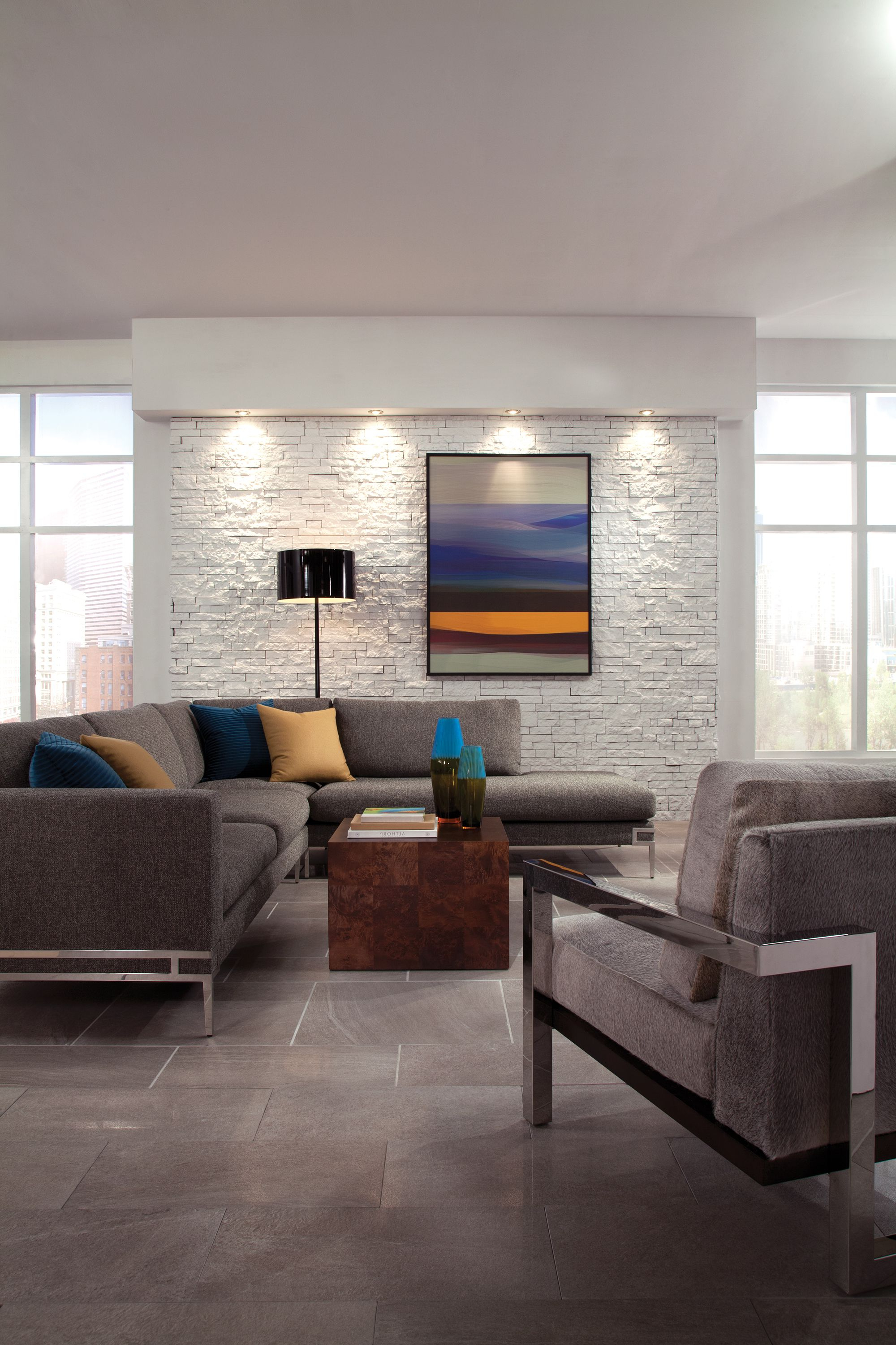 Liv Arm Sofa Chairs With Preferred Modern Living Room With Manolo Sectional And Lester Arm Chair And (View 10 of 20)