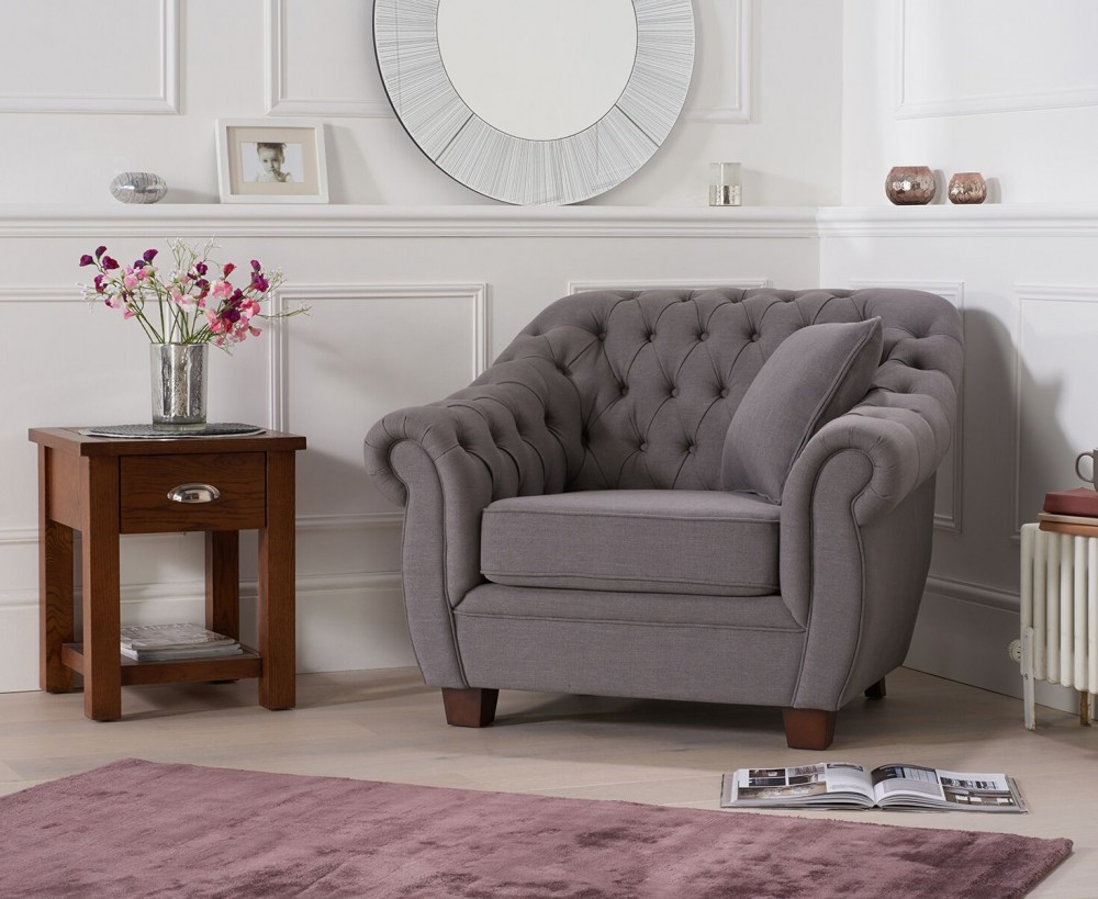 Liv Arm Sofa Chairs Within Well Known Liv Chesterfield Grey Fabric Armchair – Swagger Inc (View 5 of 20)