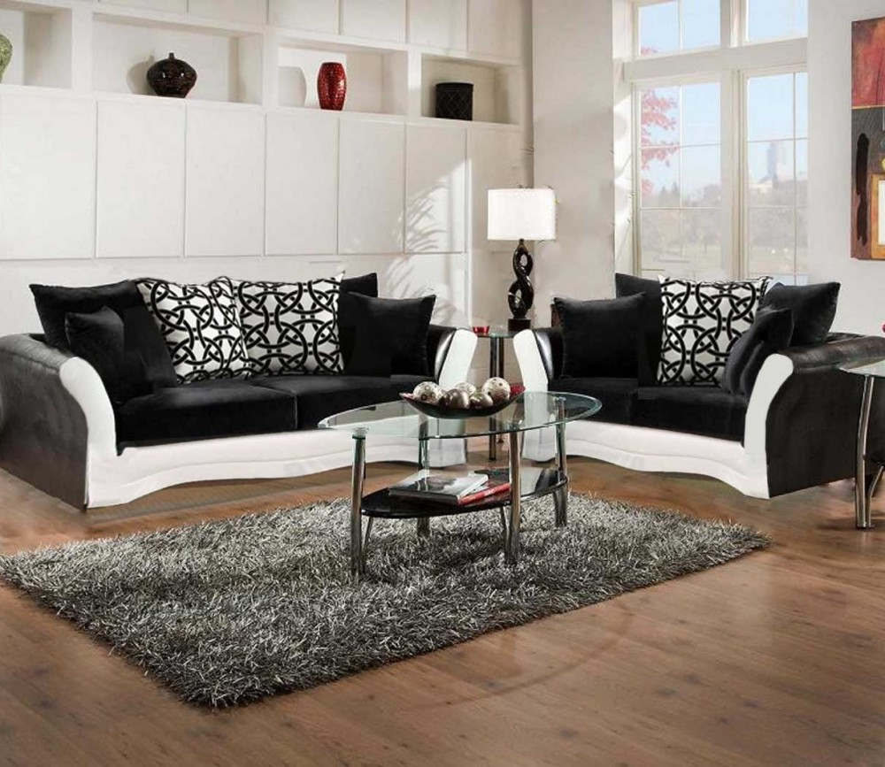 Living Room Sofas And Chairs Intended For Most Current Black And White Sofa And Love Living Room Set (View 8 of 20)