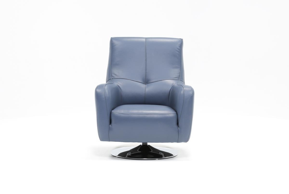 Living Spaces Inside Katrina Blue Swivel Glider Chairs (Gallery 5 of 20)