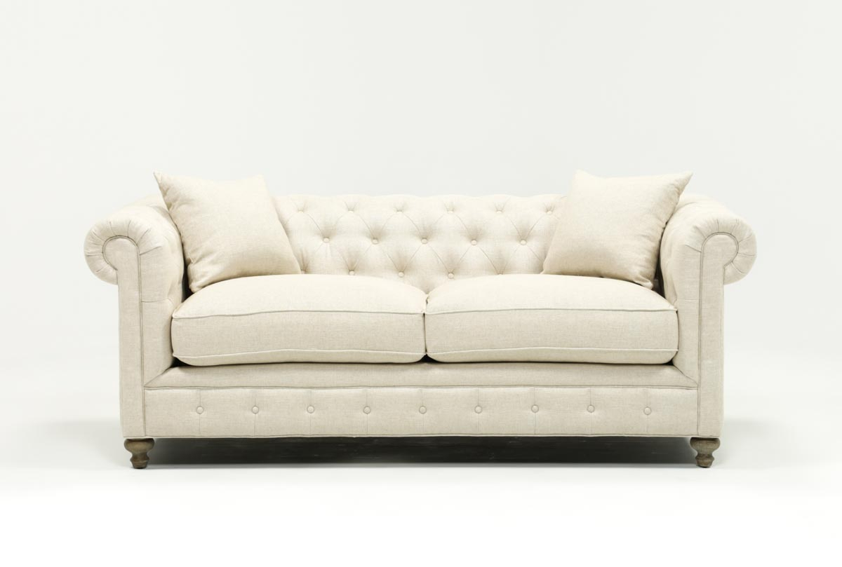 Living Spaces Inside Newest Mansfield Beige Linen Sofa Chairs (View 1 of 20)