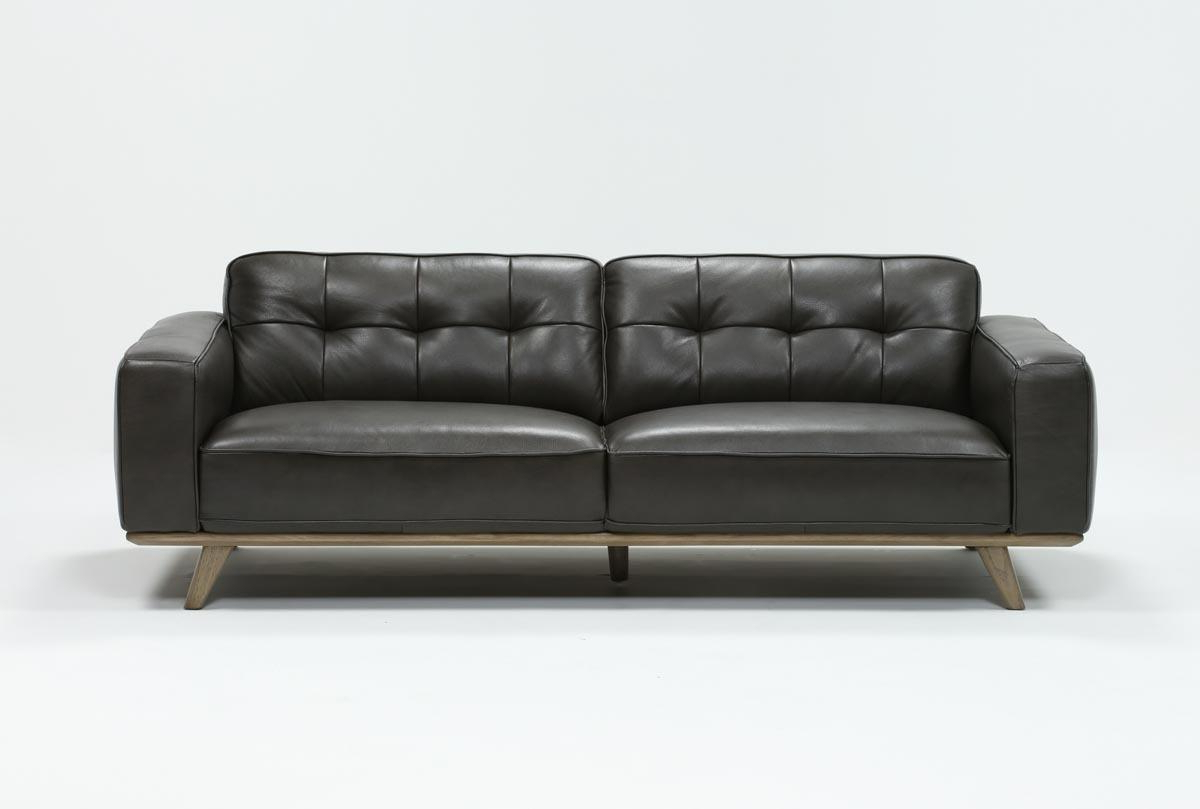Living Spaces Intended For Preferred Caressa Leather Dark Grey Sofa Chairs (Gallery 1 of 20)