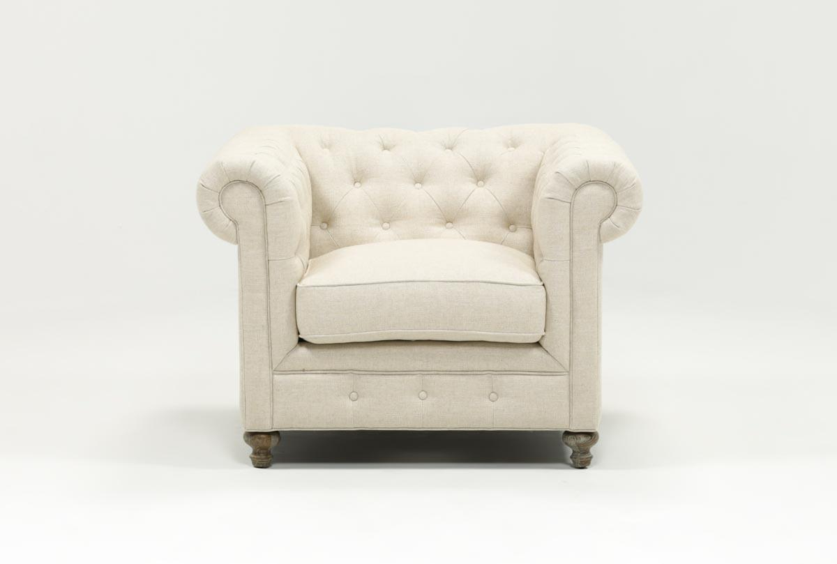 Living Spaces Pertaining To 2018 Mansfield Beige Linen Sofa Chairs (View 12 of 20)