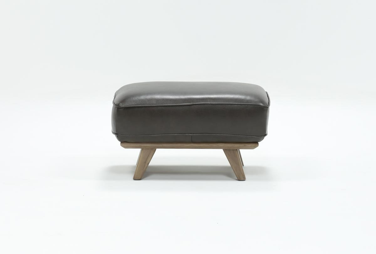 Living Spaces Regarding Caressa Leather Dark Grey Sofa Chairs (View 7 of 20)