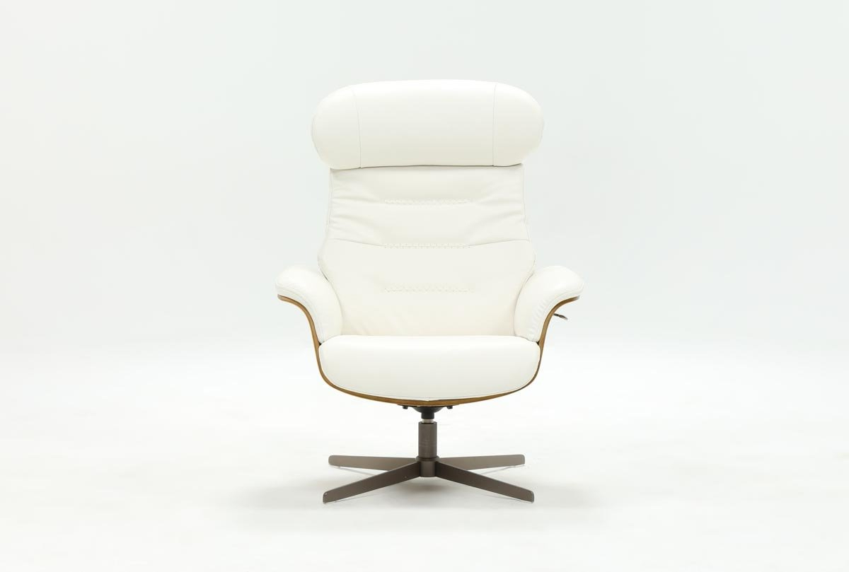 Living Spaces With Most Current Amala Bone Leather Reclining Swivel Chairs (View 14 of 20)