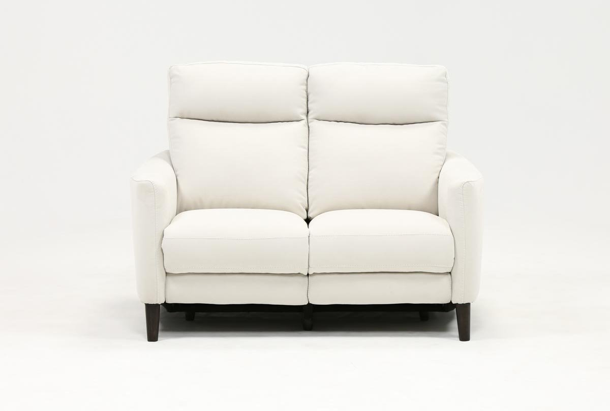 Living Spaces With Regard To Fashionable Moana Blue Leather Power Reclining Sofa Chairs With Usb (View 6 of 20)