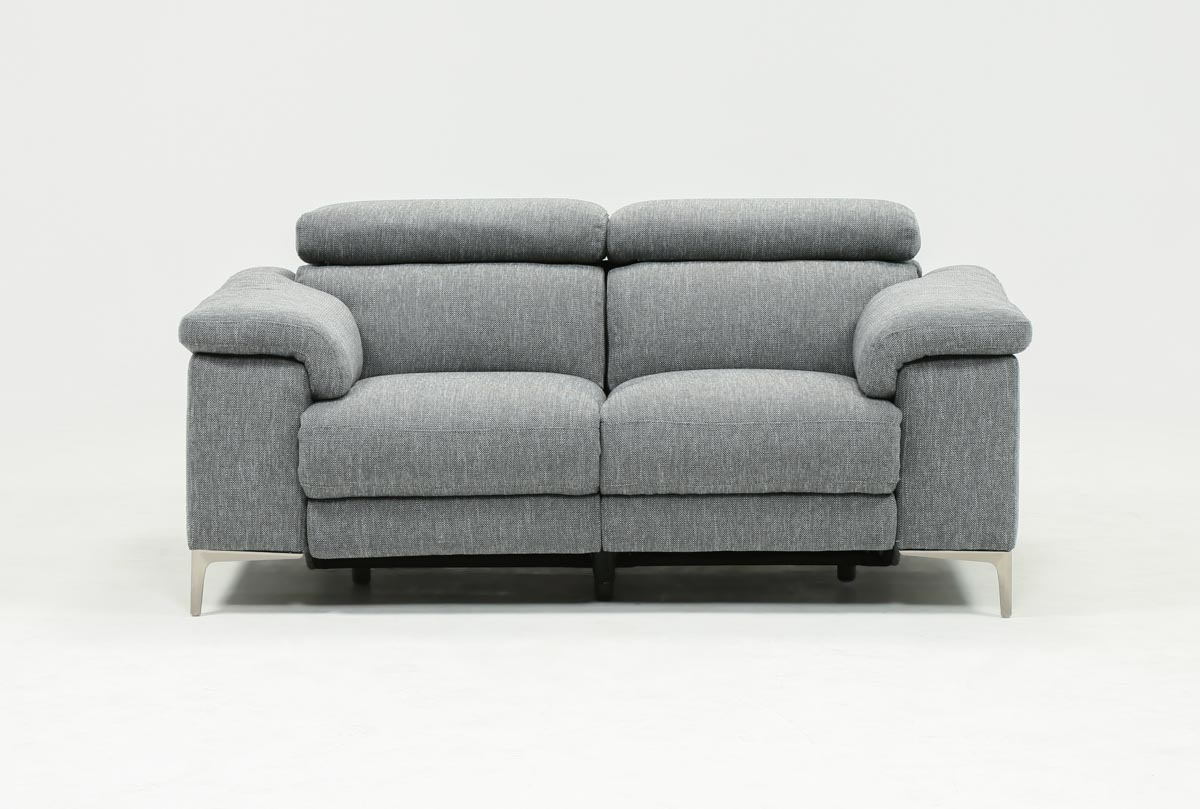 Living Spaces With Regard To Most Up To Date Moana Blue Leather Power Reclining Sofa Chairs With Usb (Gallery 5 of 20)