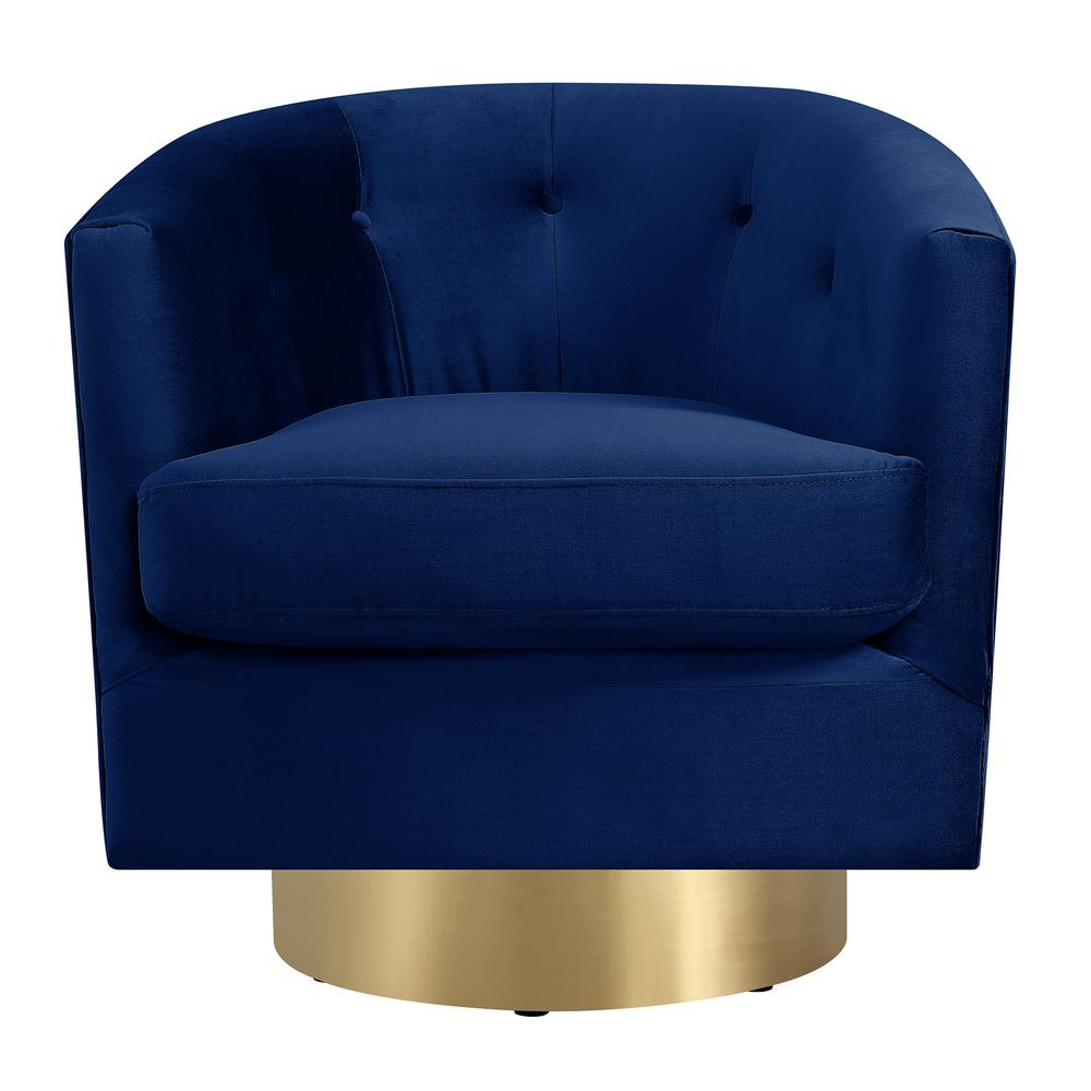 Loft Black Swivel Accent Chairs Intended For Most Up To Date Carolina Navy Blue Button Tufted Swivel Accent Chair Utr286101Swg (View 15 of 20)