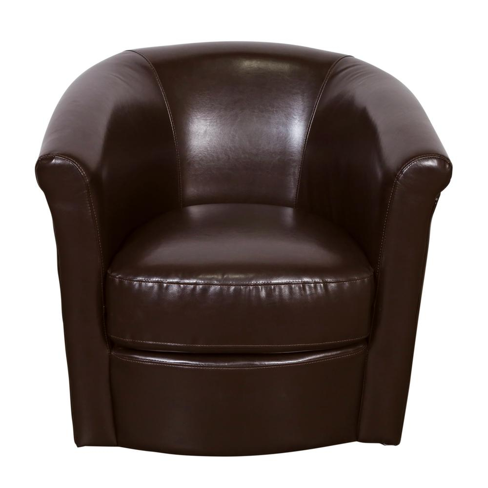 Loft Black Swivel Accent Chairs Pertaining To Preferred Marvel Chocolate Contemporary Leather Look Swivel Accent Chair (View 17 of 20)