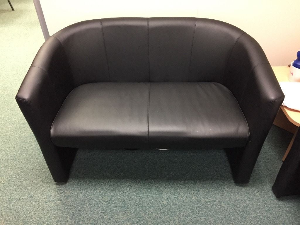 London Optical Sofa Chairs With Recent Black Faux Leather Office Sofa Set Rrp £300+ (London Twin Faux (View 11 of 20)
