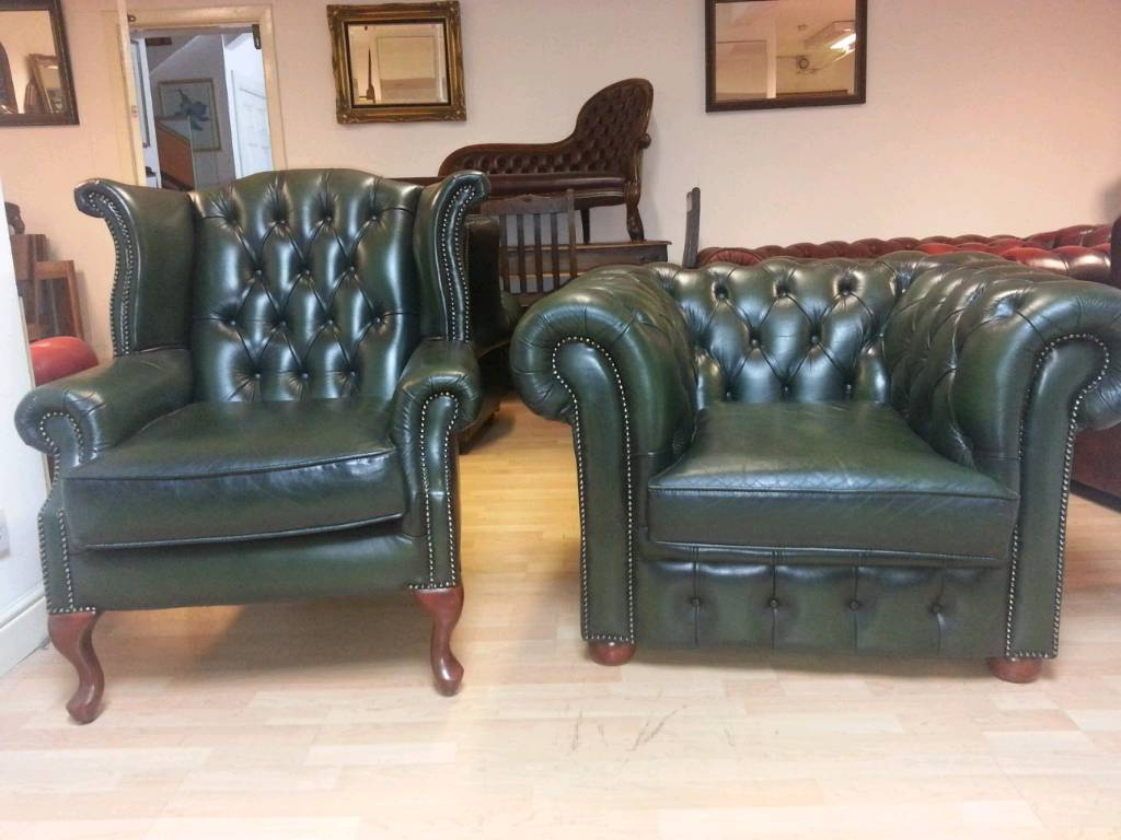 Lovely Green Leather Chesterfield Club Chair And High Bage Quinn Inside Most Up To Date Quinn Teak Sofa Chairs (View 11 of 20)