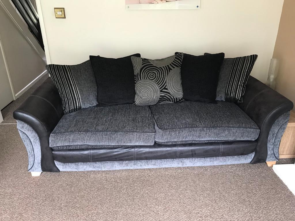 Lucy Dark Grey Sofa Chairs In Most Current Dfs Black/charcoal 4 Seater Sofa (View 7 of 20)