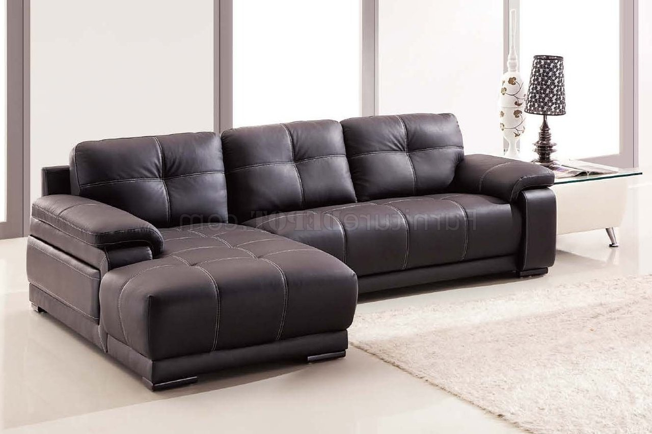 Lucy Dark Grey Sofa Chairs Inside Trendy Lucy Sectional Sofa In Dark Brown Bonded Leather (View 8 of 20)