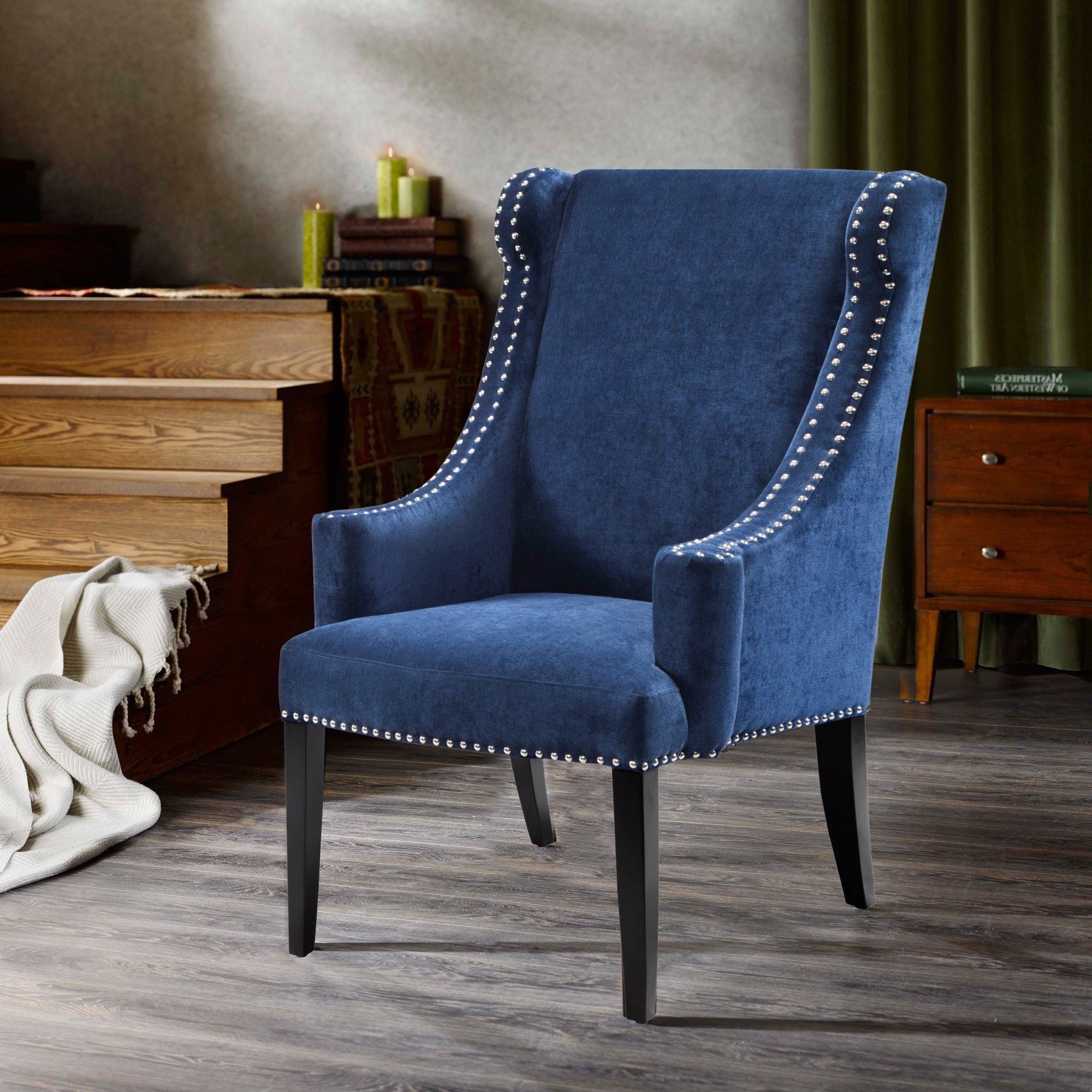Lucy Grey Sofa Chairs Intended For Most Popular Shop Madison Park Lucy Blue High Back Wing Chair – Free Shipping (View 11 of 20)