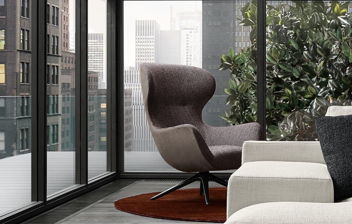 Mad Joker Armchair With Outer Body In Leather Nabuk 2 Tortora And With Best And Newest Nichol Swivel Accent Chairs (View 7 of 20)