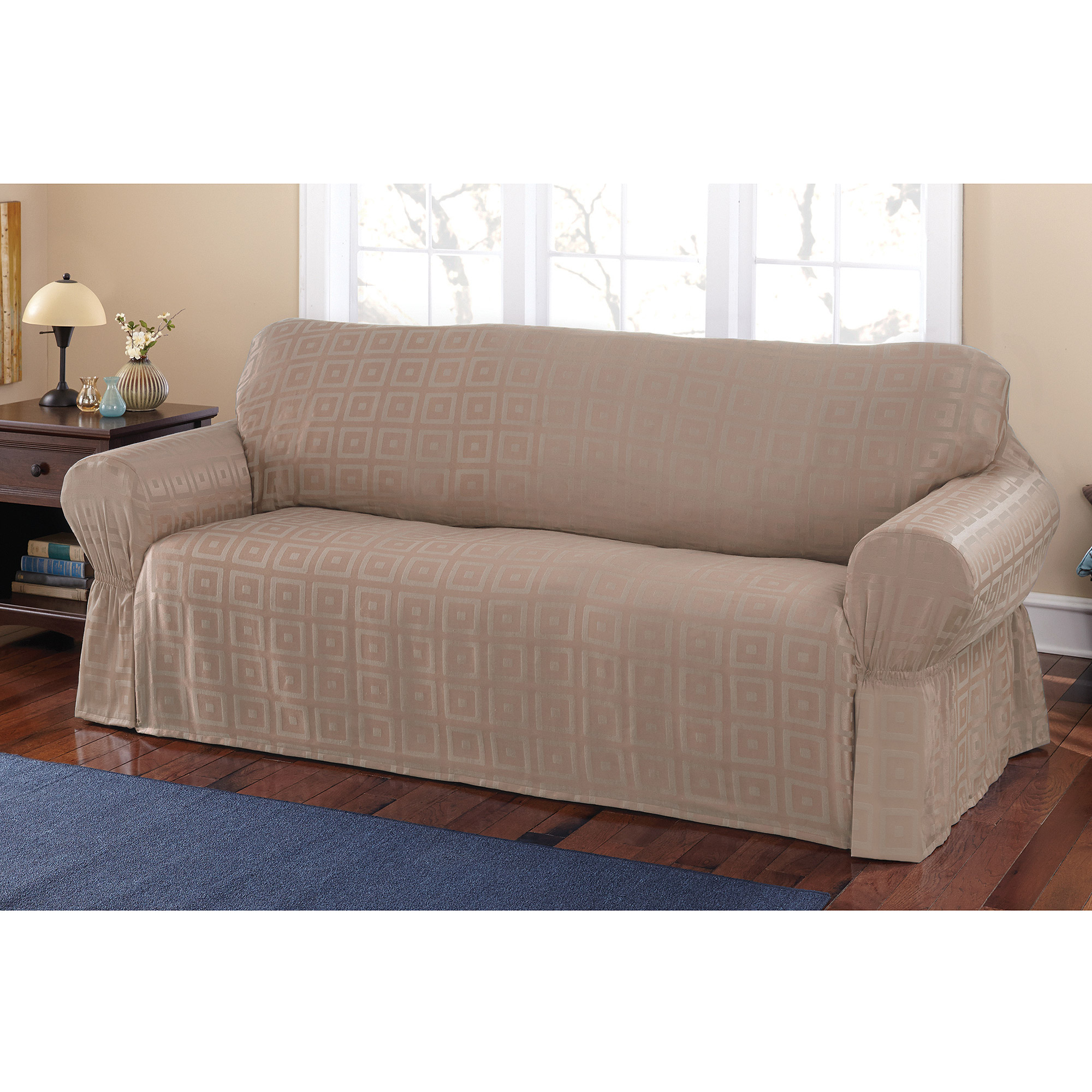 Mainstays Sherwood Slipcover Sofa – Walmart Within Current Slipcovers For Sofas And Chairs (Gallery 10 of 20)