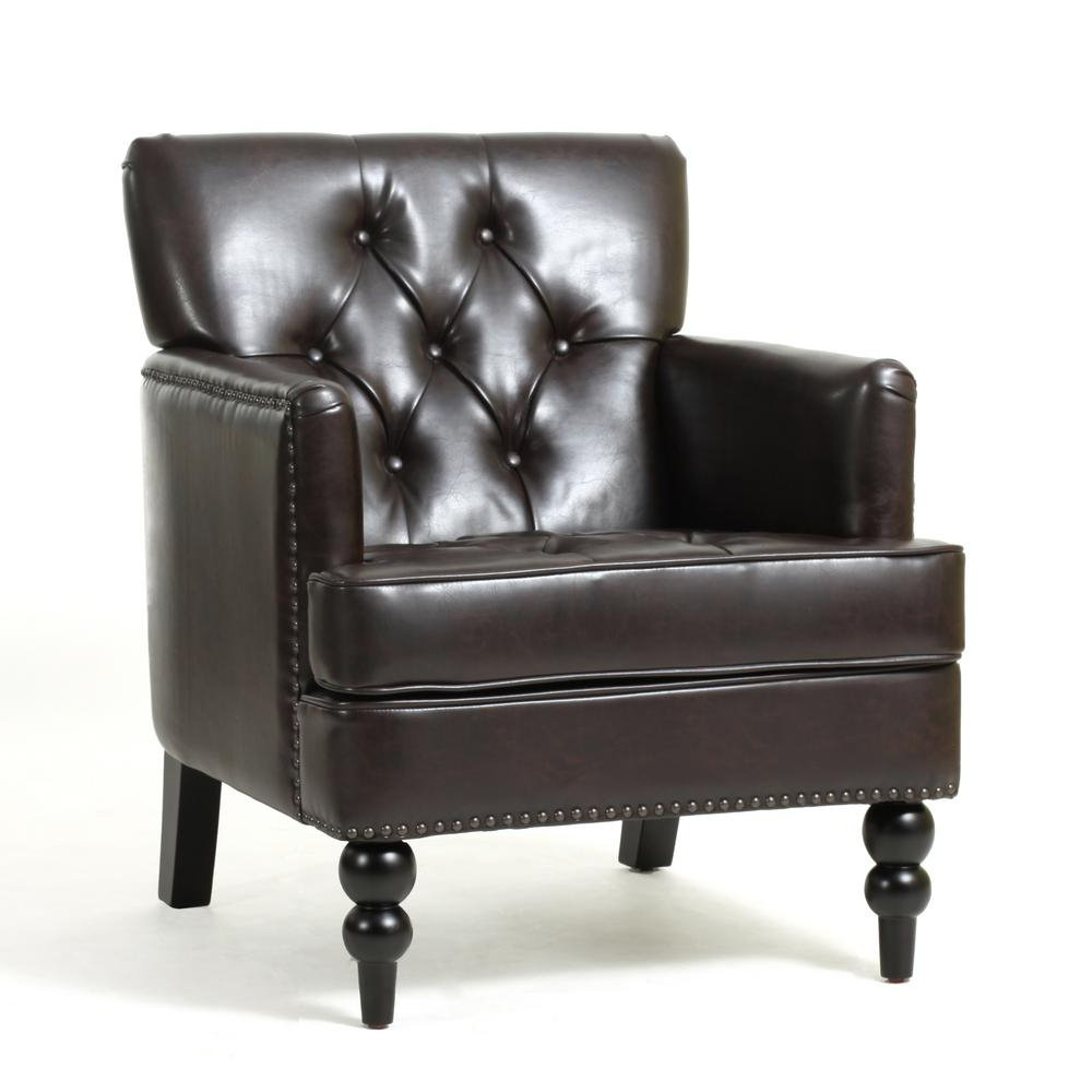 Malone Brown Leather Tufted Club Chair 237354 – The Home Depot For Popular Chocolate Brown Leather Tufted Swivel Chairs (Gallery 1 of 20)