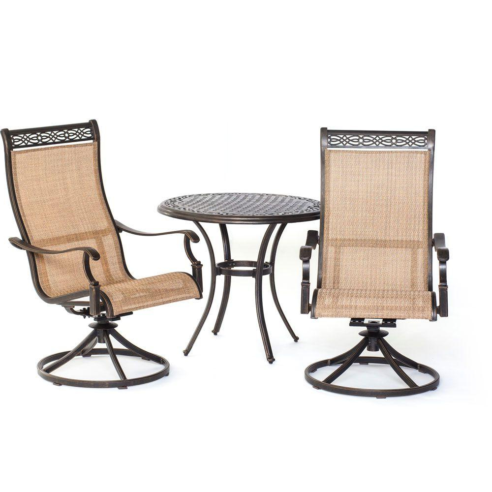 Manor Grey Swivel Chairs Inside Well Known Hanover Manor 3 Piece Round Patio Bistro Set With Sling Back Swivel (View 12 of 20)
