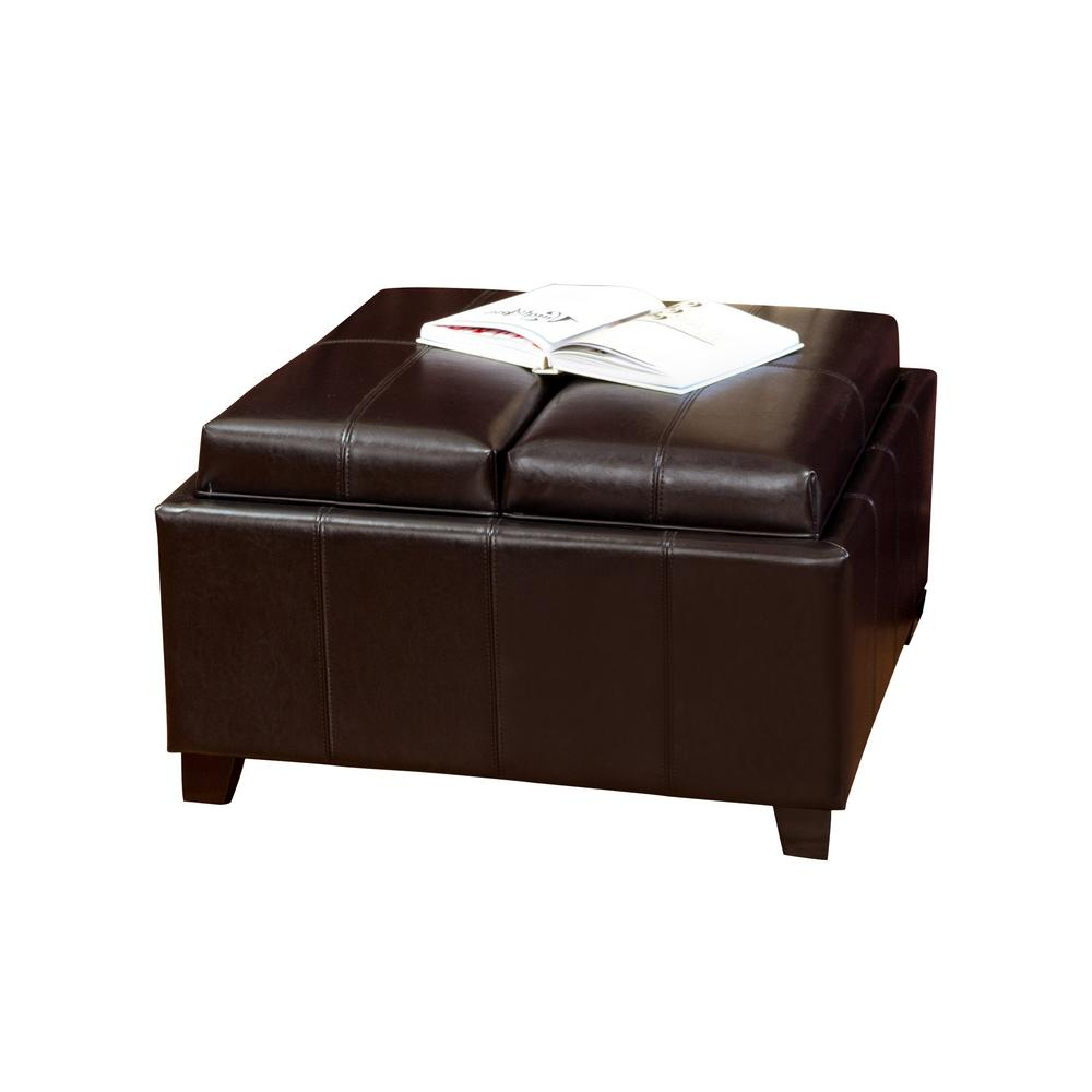 Mansfield Cocoa Leather Sofa Chairs In Trendy Noble House Mansfield Espresso Bonded Leather Tray Top Storage (View 10 of 20)