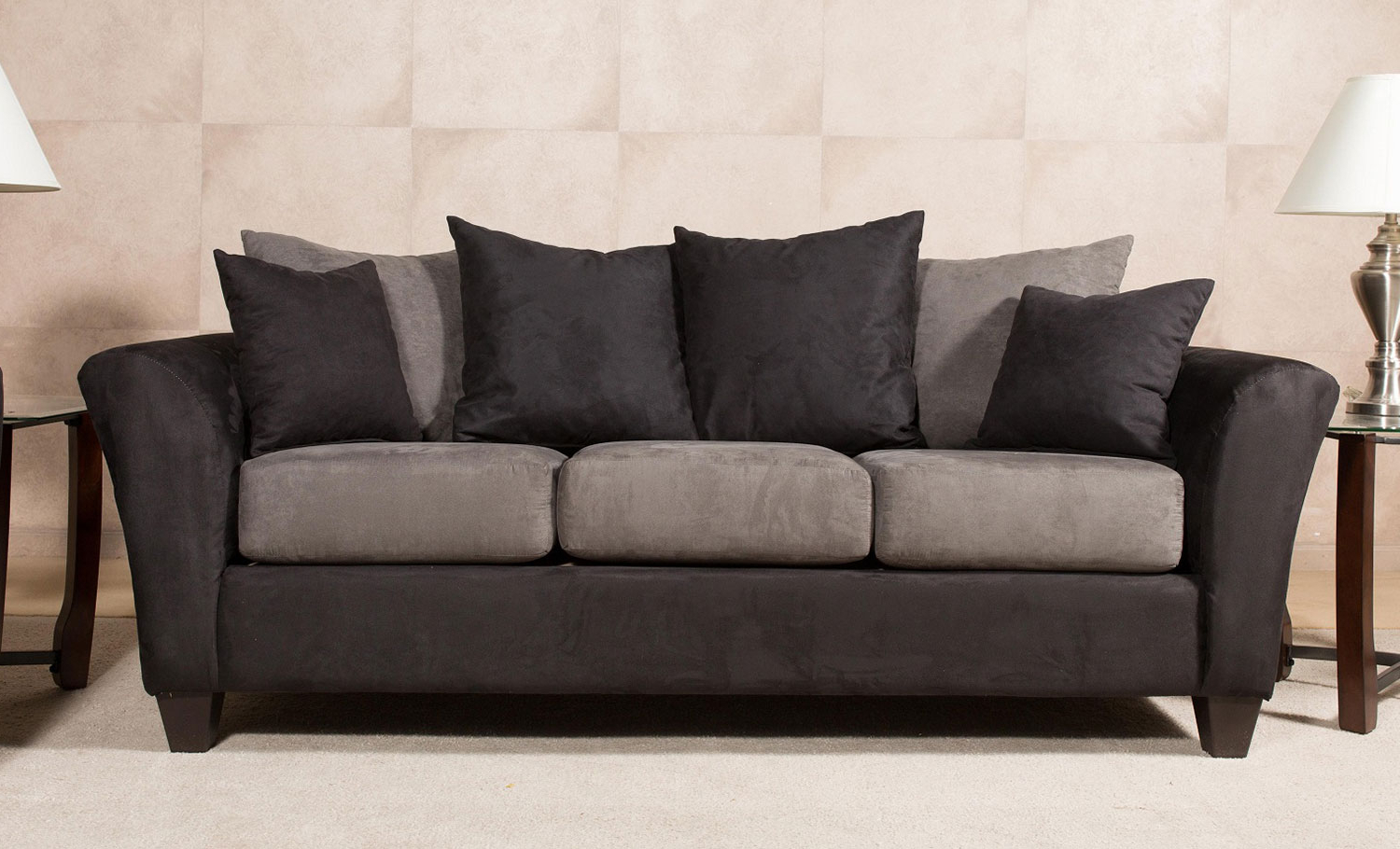 Mansfield Cocoa Leather Sofa Chairs Pertaining To Most Up To Date Chelsea Home Mansfield Sofa – Black Chf 212121 36 S Bb At Homelement (View 11 of 20)