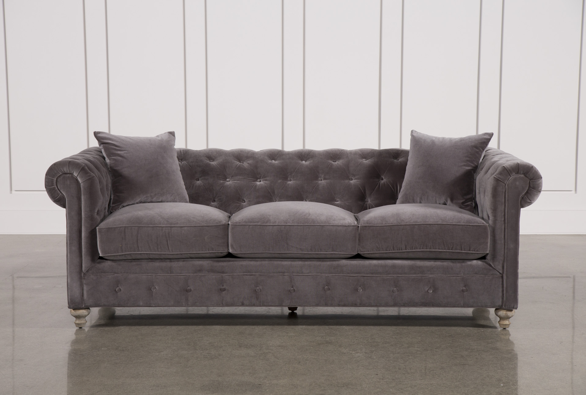 Mansfield Graphite Velvet Sofa Chairs For Most Recent Mansfield 96 Inch Graphite Velvet Sofa In  (View 11 of 20)