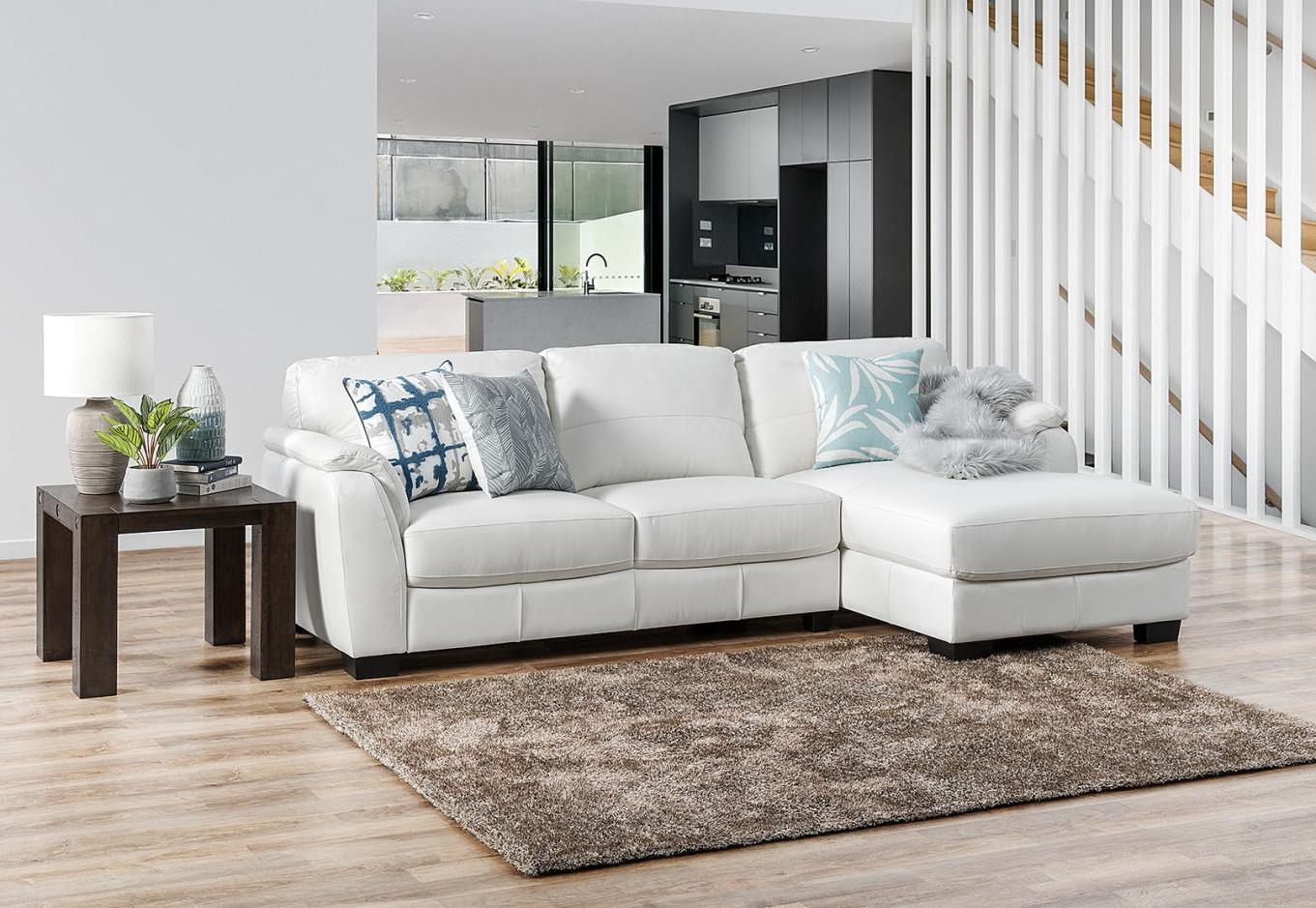 Marissa Leather 3 Seater Chaise White – Sofas, Lounges & Couches Regarding Widely Used Marissa Sofa Chairs (View 10 of 20)