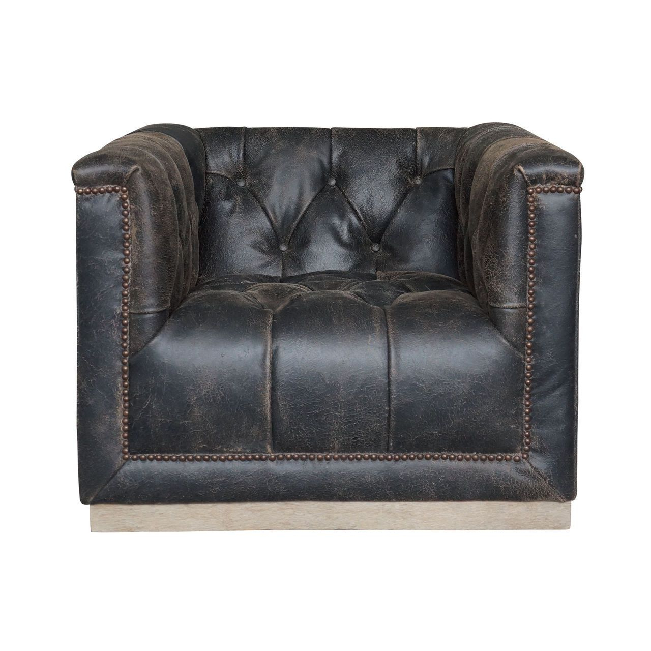 Maxx Distressed Black Leather Swivel Club Chair (View 11 of 20)