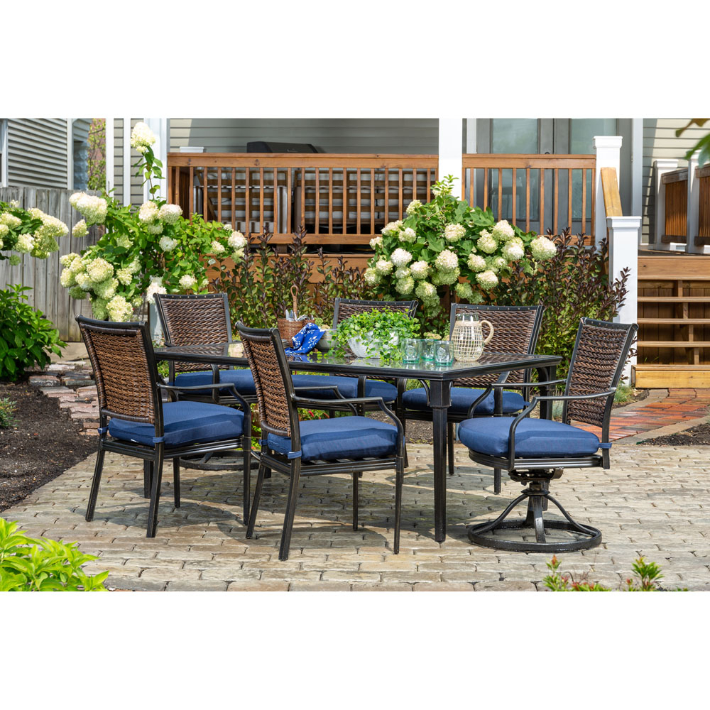 Mercer Foam Swivel Chairs With Regard To Well Known Hanover Mercer 7 Piece Patio Dining Set In Navy Blue With 4 Dining (View 15 of 20)