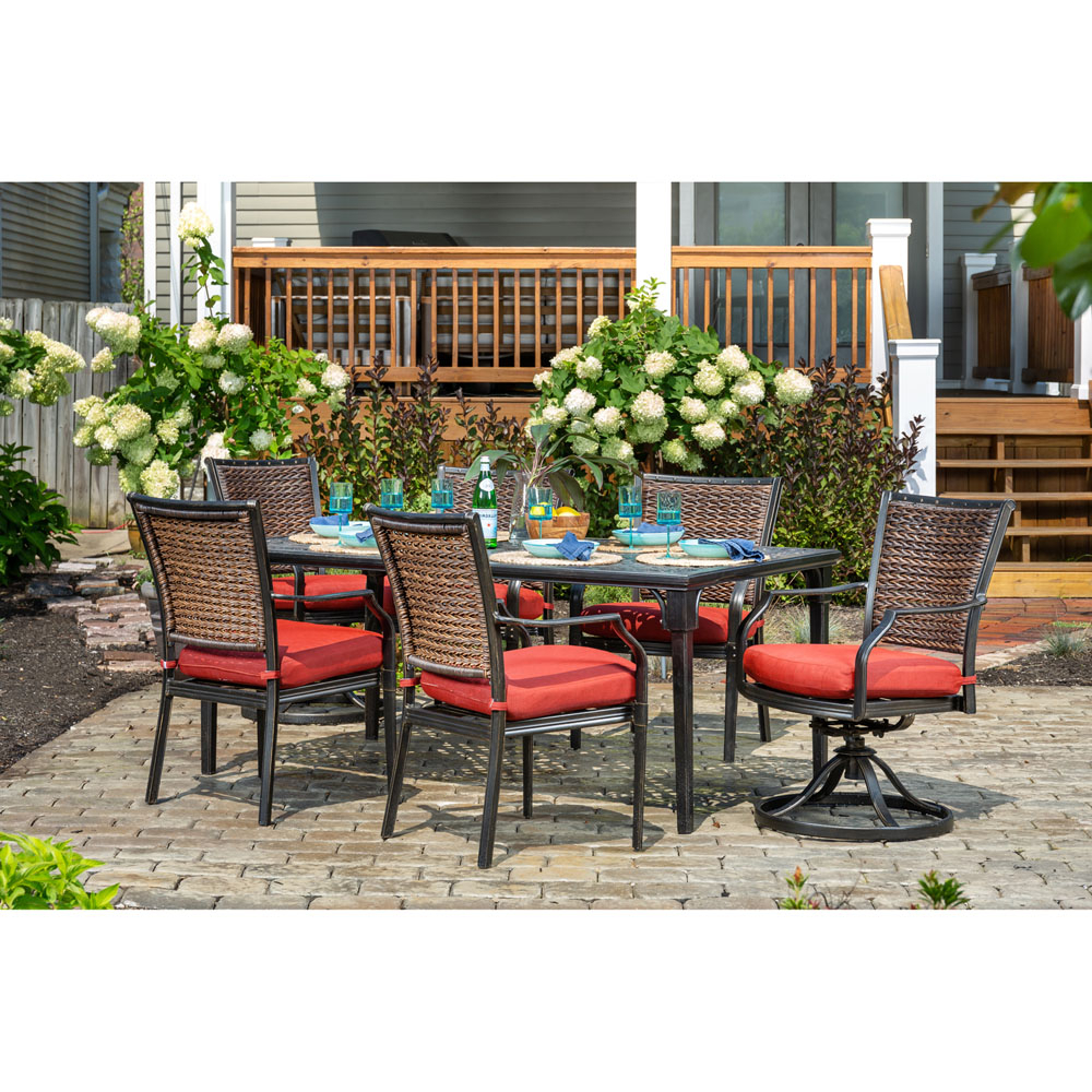 Mercer Foam Swivel Chairs Within Preferred Hanover Mercer 7 Piece Patio Dining Set In Crimson Red With  (View 13 of 20)
